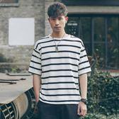 新款日系春夏季條紋短袖t恤男士潮牌潮流七分袖寬鬆帥氣五分袖