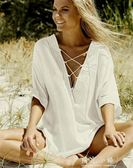 新款 比基尼罩衫 泳衣外搭 保守遮肚沙灘裙 沙灘防曬衣 晴光小語