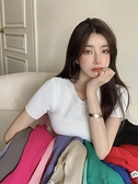 針織上衣 韓系春夏修身顯瘦素面親膚圓領短袖百搭包色針織衫 共14色 依米迦