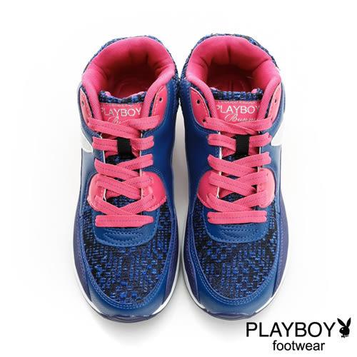PLAYBOY 毛呢拼接 慢跑運動休閒鞋-藍