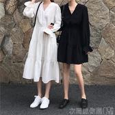 特賣長袖洋裝春秋閨蜜裝連身裙女裝寬鬆韓版chic氣質收腰V領長袖仙女白色裙子
