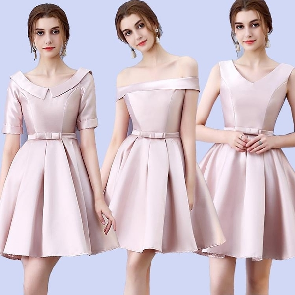 2020新款秋冬厚緞面蓬蓬伴娘禮服姐妹裙伴娘團小禮服