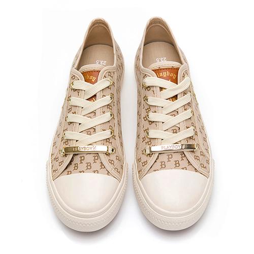 PLAYBOY復古滿版PB印花帆布鞋-米(Y6201)