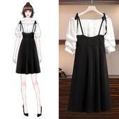 折后價不退換中大尺碼XL-5XL洋裝連身裙套裝裙3489胖mm露肩雪紡衫顯瘦吊帶裙減齡套裝