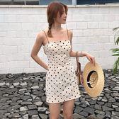 洋裝連身裙-秋季新款韓版中長款氣質小清新波點吊帶裙修身顯瘦連身裙學生裙子Y25762