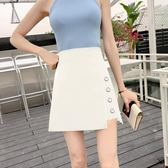 黑色半身裙 a字裙 高腰顯瘦不規則包臀裙 半裙短裙【多多鞋包店】w490