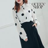 Queen Shop【01023658】黑白大點點長袖雪紡襯衫 兩色售*現+預*