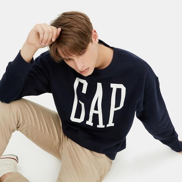 Gap男裝 Logo基本款圓領休閒上衣 619782-海軍藍