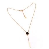 8折免運 長條黑色圓短版鈦鋼項鍊女 歐美時尚百搭簡約鎖骨鍊配飾