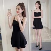 赫本風小黑裙春秋洋裝夏夜店性感女裝裙子小個子穿搭短款吊帶裙 安妮塔小鋪