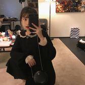 2019春裝新款蕾絲拼接娃娃領黑色連身裙女學生韓版顯瘦長裙仙女裙