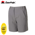 【EasyMain 衣力美 女 彈性快乾細格五分褲《炭灰》】RE20050/短褲/休閒短褲