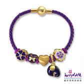 威世登 3D硬金潘朵拉5件組串飾手鍊-紫色(心動)-19公分-情人節 生日-GC00281-#DEEX