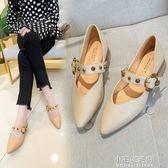 鞋子女秋季尖頭粗跟瑪麗珍淺口單鞋鉚釘皮帶扣低跟高跟鞋『小宅妮時尚』