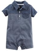 Carter's 連身衣 包屁衣  藍色條紋圖案短袖連身衣 6M 9M
