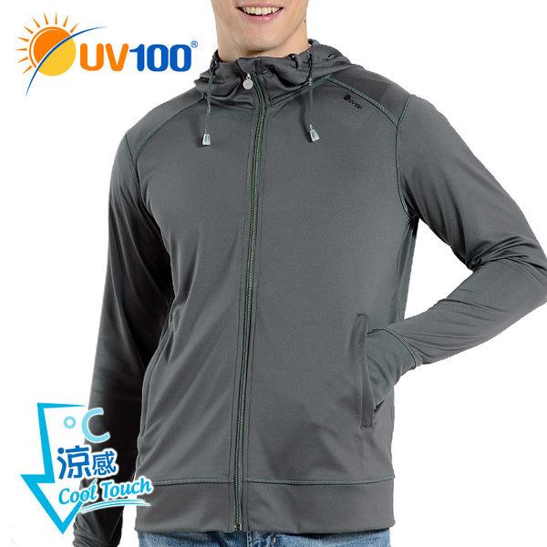快速出貨 UV100 防曬 抗UV-涼感護指連帽運動外套-男