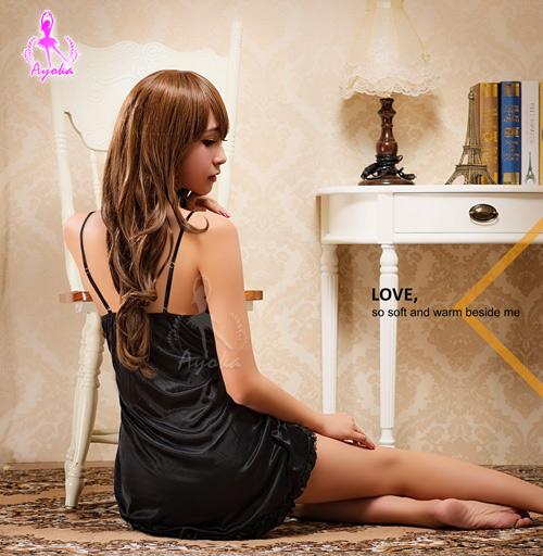 睡衣 性感睡衣 極黑魅惑蕾絲柔緞二件式奇趣性感睡衣-星光密碼J006