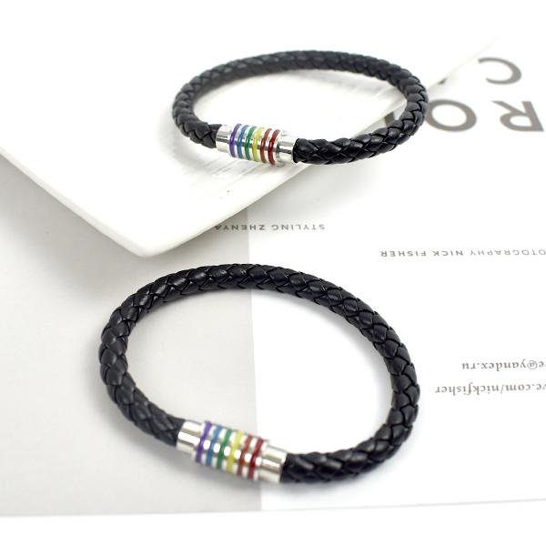 皮手環 彩色線條磁扣皮革手環NA511
