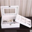 蕭佳首飾盒木質飾品收納盒單層天窗實用【天窗雕花】