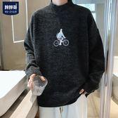冬季新款半高領針織衫男士加肥大碼胖子寬鬆毛衣外套韓版潮流男裝