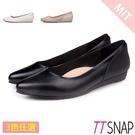 尖頭鞋-TTSNAP MIT羊紋拼接壓紋後跟沙發低跟鞋 黑/白/杏