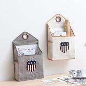 墻掛式雜物收納掛袋棉麻布家用壁掛式收納儲物袋【極簡生活】