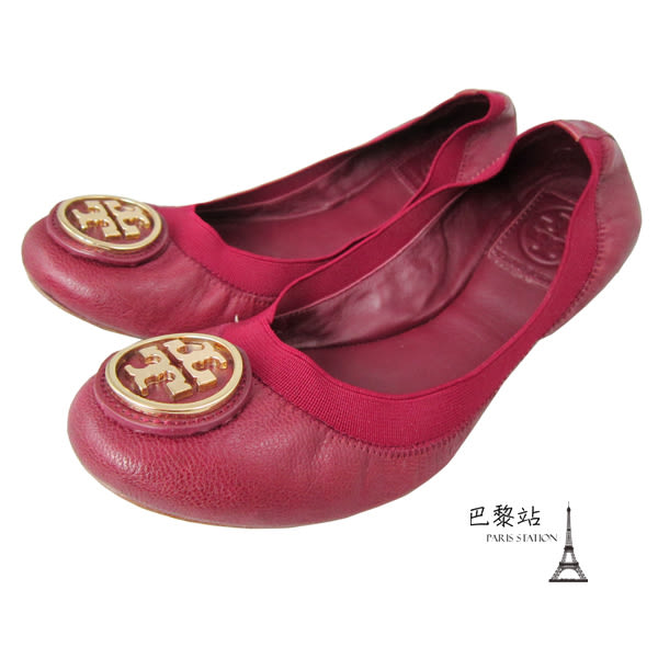 【巴黎站二手名牌專賣店】*現貨*TORY BURCH 真品* 經典雙T 暗紅色娃娃鞋 芭蕾舞鞋(7號)
