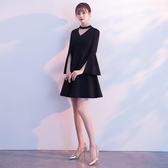 宴會晚禮服2019新款夏季黑色短款顯瘦主持名媛洋裝小禮服連身裙女Mandyc