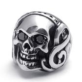 《 QBOX 》FASHION 飾品【R10022038】精緻龐克風搖滾潮流骷髏頭鑄造鈦鋼戒指/戒環