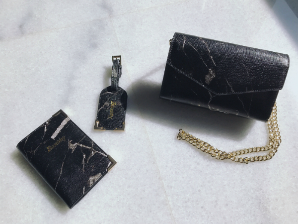 Boxtory 大理石紋護照夾&行李吊牌組 - 黑色