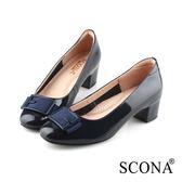 SCONA 蘇格南 全真皮 優雅舒適方釦中跟鞋 藍色 22811-2