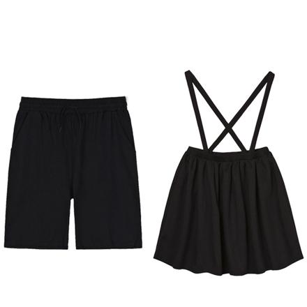 黑色背帶裙短褲親子裝(大人)