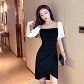 法式輕熟氣質一字肩禮服裙2021夏季新款名媛顯瘦不規則性感連身裙禮服 阿卡娜
