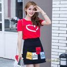 2019夏季新款韓版女裝愛心印花短袖t恤女A字短裙時尚休閒兩件套裝「時尚彩虹屋」