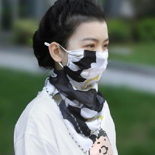 夏季防曬絲巾圍脖 護頸透氣面罩 全遮臉防紫外線雪紡薄面紗