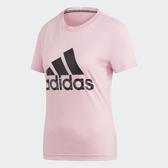 adidas T恤 W MH Bos Tee 粉紅 黑 Logo 短T 女款 運動服 【PUMP306】 DZ0014