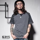 【BTIS】異色條紋 拼接短袖上衣 / 黑色
