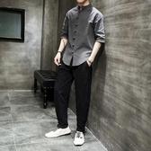 夏季中國風 棉麻襯衫套裝男半袖盤扣亞麻男士 寬鬆大尺碼襯衣兩件套 初秋新品