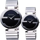 GUCCI Interlocking 時尚元素對錶/情侶手錶-黑/銀 YA133307+YA133502