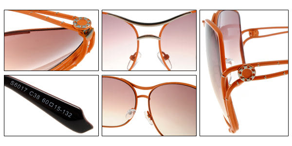 EJING太陽眼鏡 EJS6017 C38 (粉橘色) 摩登設計環扣墨鏡 # 金橘眼鏡