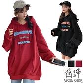 EASON SHOP(GW7930)實拍繽紛撞色字母印花大口袋落肩長袖素色棉連帽T恤裙女上衣服大學T寬鬆大尺碼