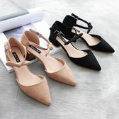 春季上新 韓版一字扣中跟單鞋 復古側空尖頭絨面粗跟鞋 甜美蝴蝶結通勤女鞋