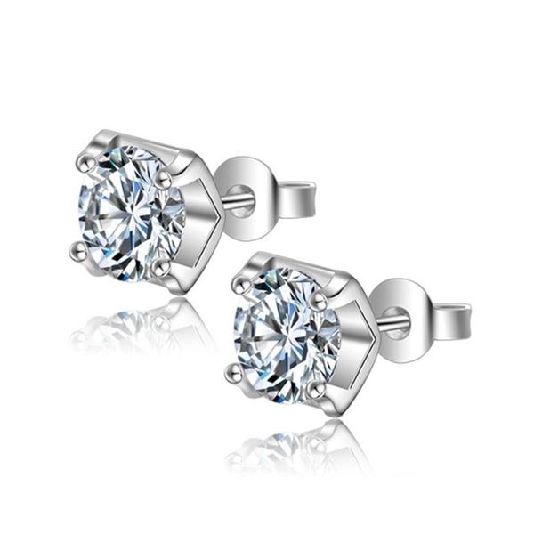 925純銀 四爪單鑽8mm 天然白水晶 耳環耳針釘-銀 防抗過敏