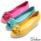 【Deluxe】全真皮春漾時尚花朵浪漫魚口包鞋鞋(綠☆黃☆桃)