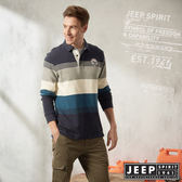 【JEEP】撞色條紋厚棉長袖POLO衫 (深藍)