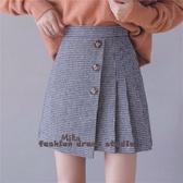 依米迦 短裙 秋冬新款時尚千鳥格毛呢短裙A字不規則高腰短裙
