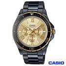CASIO卡西歐 時尚三眼黑鋼型男腕錶 MTD-1075BK-9A