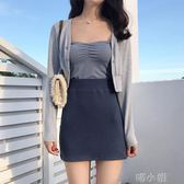 短裙韓風Chic高腰修身顯瘦包臀針織半身裙 素色簡約休閒百搭A字短裙女 喵小姐