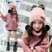 女童帽子兒童帽子秋冬正韓蝴蝶結時尚女童帽子寶寶加絨護耳臉帽公主保暖帽