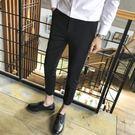 休閒褲男韓版修身西裝褲顯瘦小腳褲子男士九分褲秋冬加絨加厚西褲